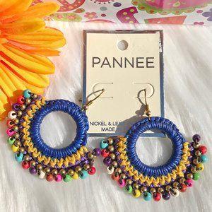 Boho Earrings Mixed Bead Goldtone Dangle Drops NWT
